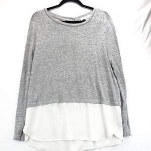 Loft grey and white sweater with layered blouse